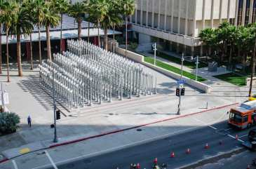 View of LACMA entrance from the crane.