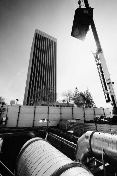 Dirt being lifted from the shaft, which is adjacent to Wilshire Boulevard.