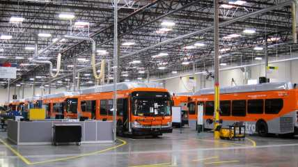 Metro buses in the New Flyer bus facility.