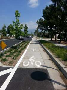 The new cycle tracks on Rosemead Boulevard in Temple City. Photo: Anna Chen/Metro
