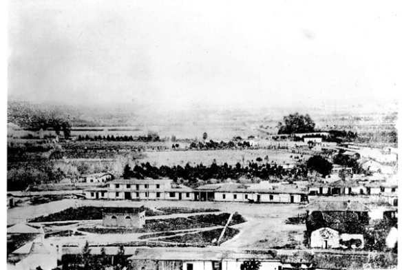 The Plaza in 1862 looking east. Behind the two-story Lugo adobe are the vineyards and adobes that would become the Union Station site. Courtesy of the Seaver Center for Western History Research, Natural History Museum of Los Angeles County.
