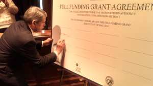 Metro Board Member Zev Yaroslavsky signing the funding deal this morning in D.C.