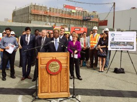 A media event was held Friday morning at Metro's Division 13 facility to promote cap-and-trade efforts in the state and the regional benefits of reducing greenhouse gases. Supervisor Mark Ridley-Thomas is at the podium in the above photo. Behind him, from left, are Senator Kevin de Leon, Senate President pro Tempore Darrell Steinberg, Los Angeles Mayor Eric Garcetti and then-Metro Board Chair Diane DuBois. Photo by Luis Inzunza/Metro.