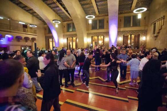 LA Picante salsa band performance in former Fred Harvey restaurant space in January 2014, part of the Metro Presents series of arts and cultural  programs at Union Station.