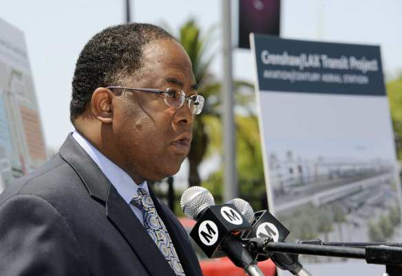 Supervisor Mark Ridley-Thomas speaking at the media event this morning. Photo by Juan Ocampo for Metro.
