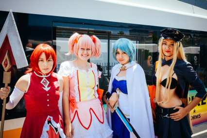 Fans at the Blue and Expo Lines' Pico Station in July for Anime Expo at the Los Angeles Convention Center. Photo by Steve Hymon/Metro.