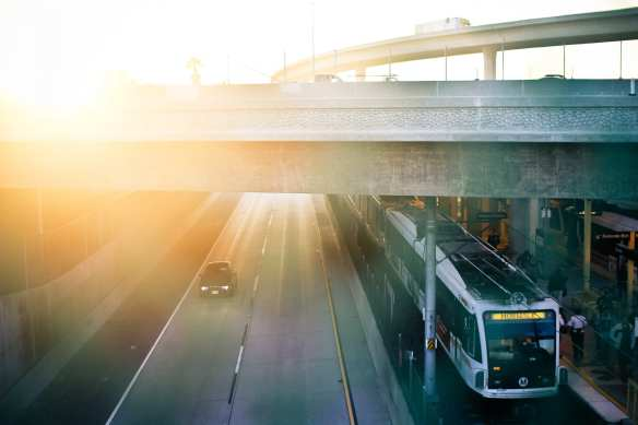 ART OF TRANSIT: Very nice photo of the under-photographed Green Line, which runs mostly down the middle of the 105 freeway. Photo by Matthew Grant Anson, via his Flickr stream.
