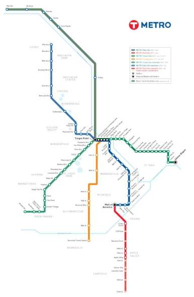 The official transit map for Metro Transit includes  lines currently under construction. (Source: Metro Transit)
