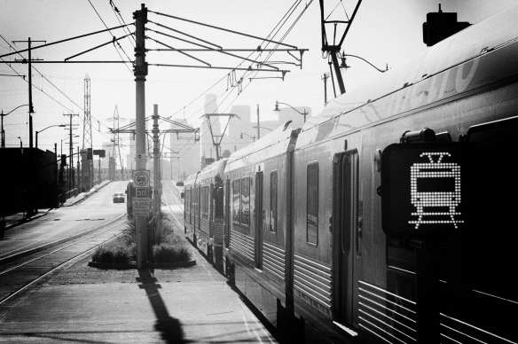 ART OF TRANSIT: The Eastside Gold Line headed to downtown L.A. last week. For the photographically curious, I processed the pic with Silver Efex Pro's pinhole present and shot it with my Nikon DSLR in color in RAW and converted to B&W. Photo by Steve Hymon/Metro.