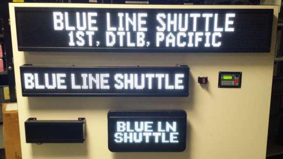 Blue Line shuttle buses headsigns.
