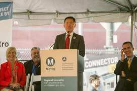 George Takei serves as the Master of Ceremonies at the Regional Connector groundbreaking in late September. Photo by Juan Ocampo/Metro.