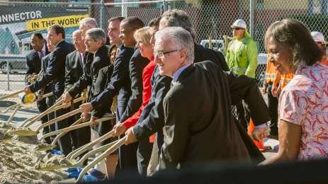 Officials turn the dirt at the Regional Connector's groundbreaking. Photo by Steve Hymon/Metro.