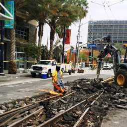 Cutting up old tracks for removal. Photo: Metro