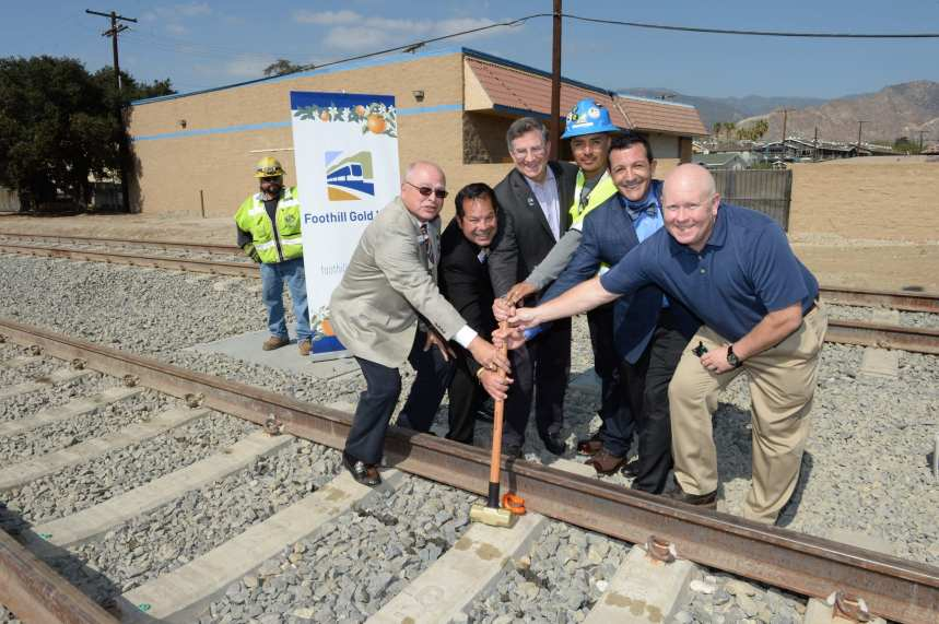 Tessitor, Board Vice Chair Sam Pedroza, Metro Board Member and Duarte Councilmember John Fasana, crew member Elias Avila, Foothill Construction Authority CEO Habib Balian and Kiewit Infrastructure West Vice President Andy Peplow.