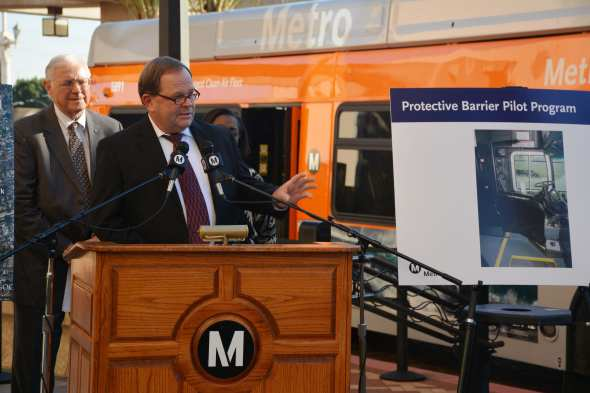 Officials talk about steps being taken by Metro to keep bus operators safe at a media event Monday afternoon. Photo: Metro.