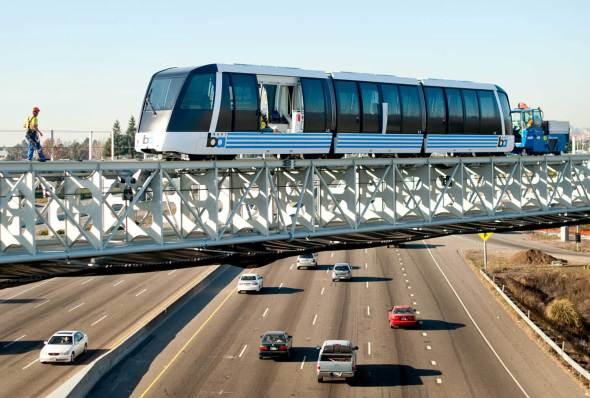 The new BART people mover during its testing phase. Photo: BART.