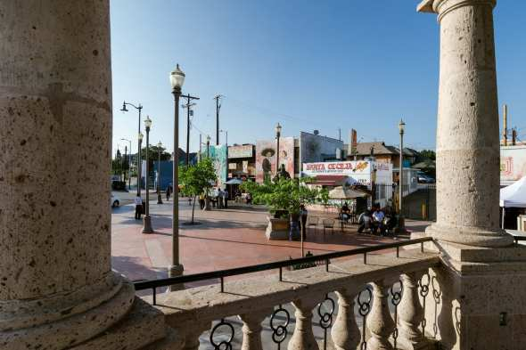 A view of part of the plaza from the gazebo. Photo by Steve Hymon/Metro.