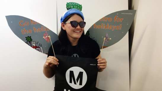 This is the Metro Holiday Fairy. Be on the look out for her this weekend. Fairy wings subject to change.