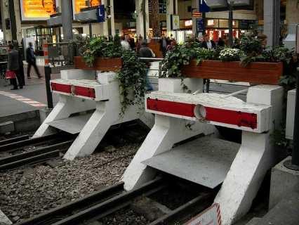 Bumping posts in Gare de Lyon, Paris, France.