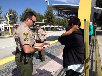 In February, Sheriff's Deputies continued their crackdown on fare evasion on the Orange Line. Photo: Metro.