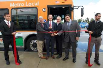 Cutting the ribbon on the new Valley-Westside Express earlier this month. From left: Metro CEO Art Leahy, L.A. Mayor Eric Garcetti, L.A. Councilman Paul Krekorian and Michael Cano, deputy to Supervisor Michael D. Antonovich.
