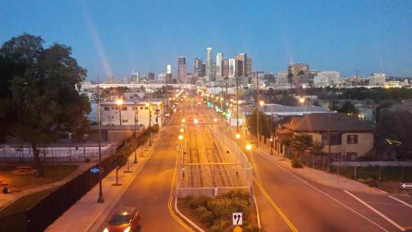 ART OF TRANSIT: Nice shot looking west on 1st Street and the Gold Line tracks in Boyle Heights taken by Patrick Chandler of Caltrans.