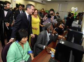 Business Solution Center press conference and ribbon cutting on February 9, 2015 at the Los Angeles Urban League on February 9, 2015