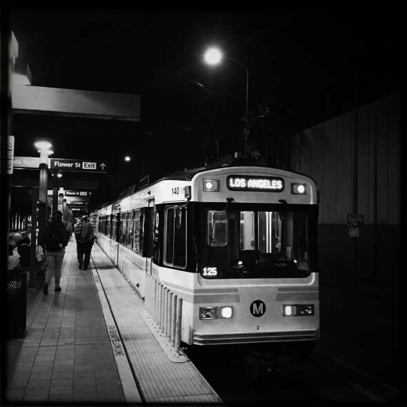 ART OF TRANSIT: The Blue Line last night. Photo by Steve Hymon/Metro.