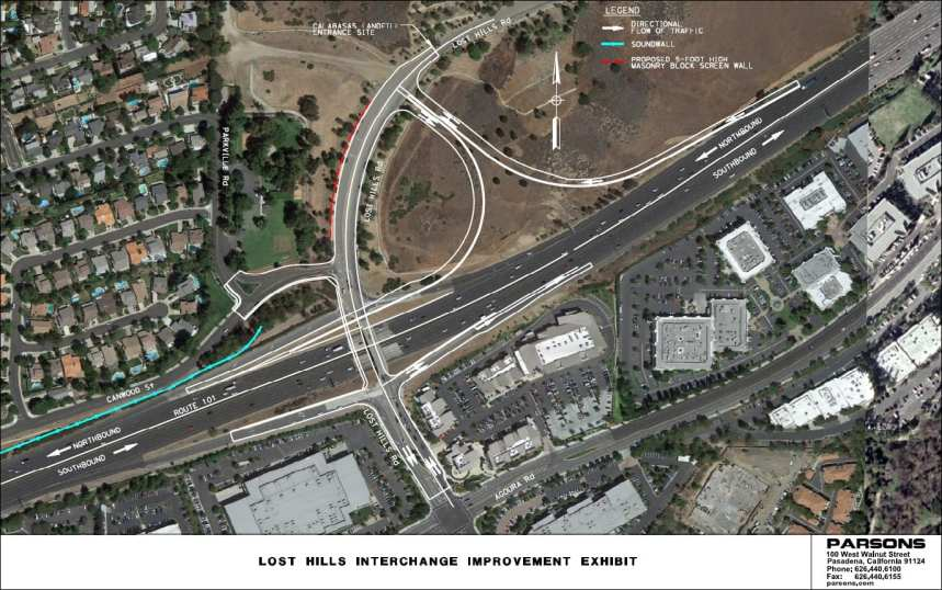 Plans for the future on and off ramps and Lost Hills bridge. (Courtesy of city of Calabasas / Parsons)