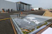 A model of the new maintenance campus next to the main office and employee training center. Photo: Steve Hymon/Metro.
