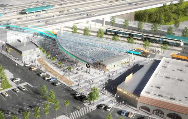 An artist's rendering of the proposed improvements including a civic plaza gateway to the Willowbrook/Rosa Parks Station.