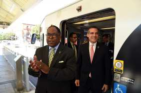 Metro Board Chair and L.A. County Supervisor Mark Ridley-Thomas and Metro Board Member and Mayor Eric Garcetti. Photo: Luis Inzunza/Metro