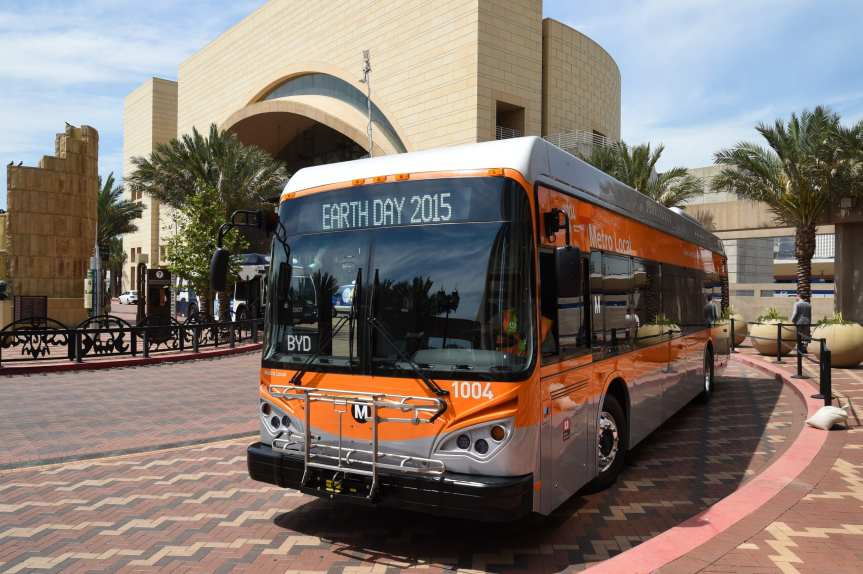 One of the five electric buses delivered to Metro earlier this year for testing. Photo: Metro.