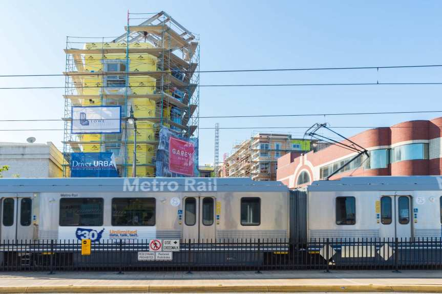 Development in Little Tokyo / Arts District neighborhoods in downtown L.A. (Photo: Steve Hymon/Metro)