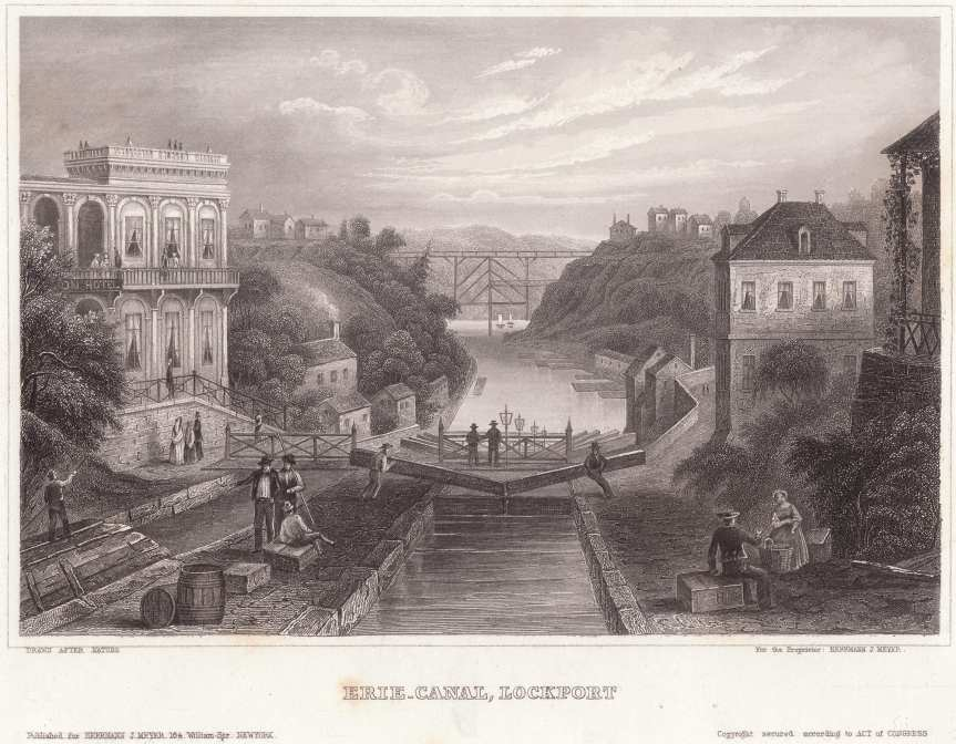 The Erie Canal in the mid-1800s. Source: Wikimedia Commons.