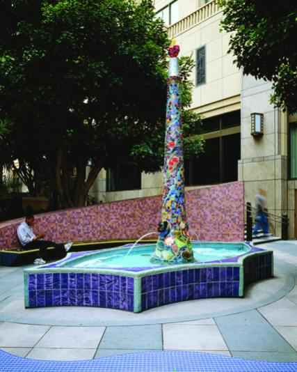 Paseo Cesar Chavez by Elsa Flores. Locaed at the corner of Cesar Chavez and Vignes streets, each of three water fountains was designed to have a different sound; each is clad in colorful handmade tiles.