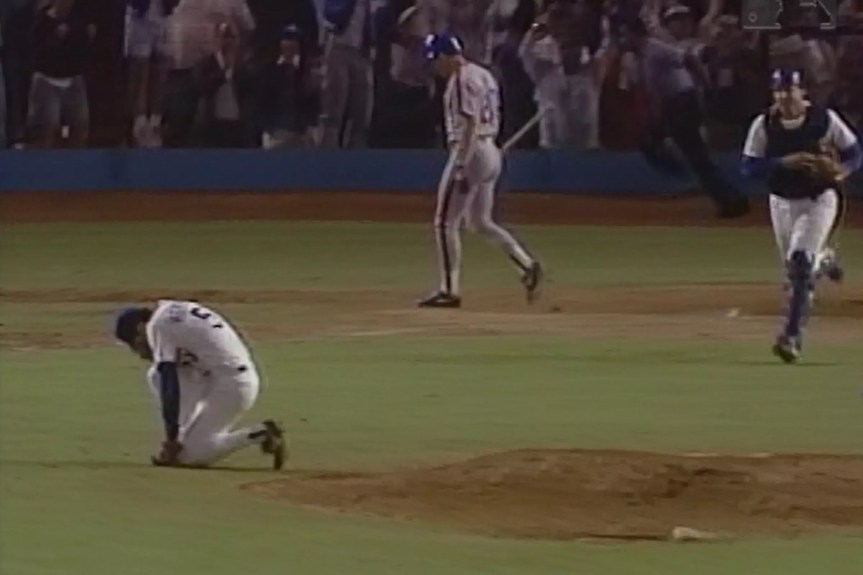 Orel Hershiser after striking out the final Met to win Game 7 of the '88 NLCS. Photo: Major League Baseball.