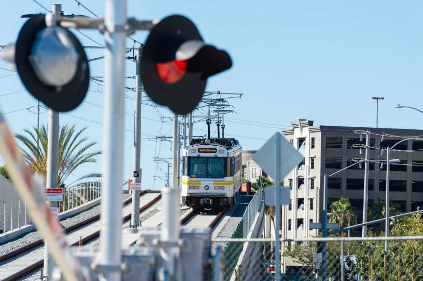 Expo Line traffic signal testing in Santa Monica on Saturday -- this is just west of Bergamot Station on the bridge over Cloverfield Boulevard and Olympic Boulevard. See the full gallery by clicking above.