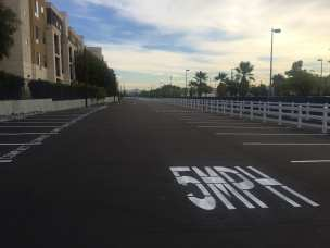 The new parking facility looking east. The pavement is permeable, allowing rainwater to drain through it.