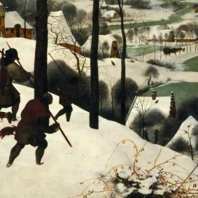 """Bottom left corner of Pieter Bruegel's """"Hunters in the Snow."""""""