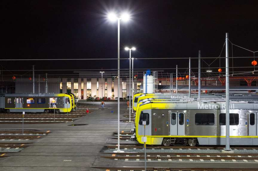 The new Monrovia maintenance campus for the Gold Line on Friday evening. The Gold Line extension to Arcadia, Monrovia, Duarte, Irwindale and Azusa opens on March 5. Testing is underway. Photo by Steve Hymon/Metro.