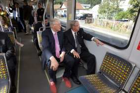 Metro Board Members Michael D. Antonovich, left, and Don Knabe on the ride. Photo by Gary Leonard for Metro.