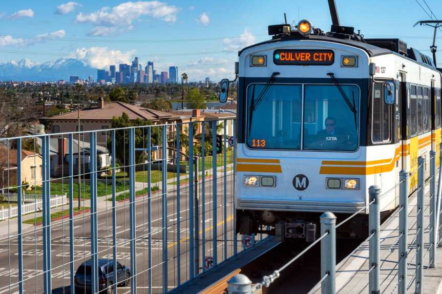 Nice views yesterday from the Expo Line's La Cienega/Jefferson Station. Photo by Steve Hymon/Metro.