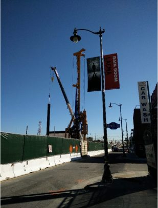 Pile installation at the 1st Street guideway cut and cover. Photos: Metro