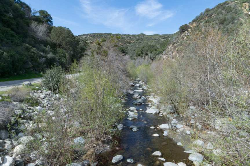 The West Fork of the San Gabriel River above Azusa is a popular spot for fly fishermen. The trout tend to be small. Photo by Steve Hymon/Metro.