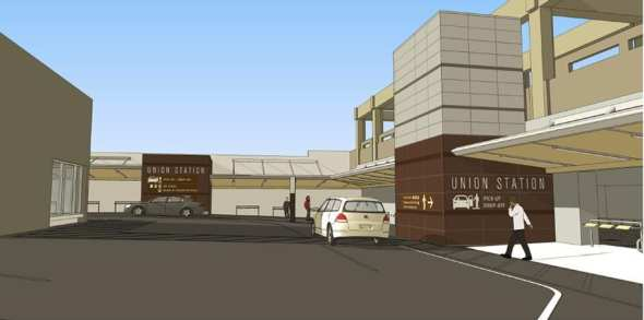 A rendering of future pick-up and drop-off area.
