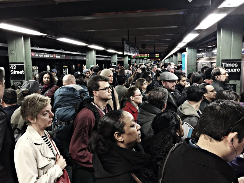 Times Square station in March. Photo by Eric Gross, via Flickr creative commons.