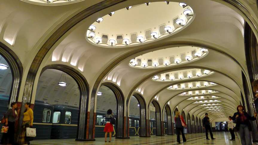 A station in the Moscow Metro. Photo by Martin Deutsch, via Flickr creative commons.