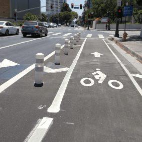 The protected bike lane on Los Angeles Street.