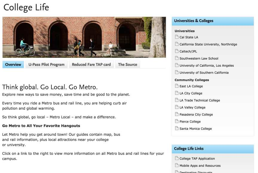 Click above to visit Metro's college pass page, which includes links to schools offering the U-Pass.